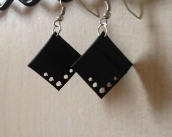 Recycled bike tube, square motif earrings