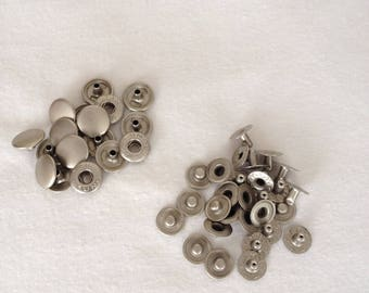 Metal snap buttons round 12mm set of 16 silver sewing notions