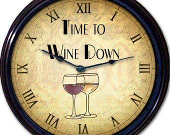 Wine, Wine Lovers, Red Wine, White Wine, Wall Clock, Liquor, Alcohol, Wine Glass, Time to Wine Down, House Gift, New 10""
