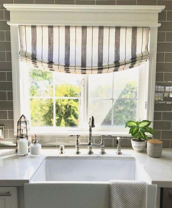 White Kitchen Blinds: Striped Linen Roman Shades Black White Designer RM Coco