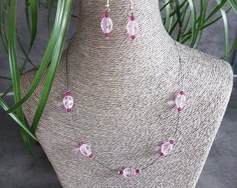 set with fuchsia and transparent color glass beads