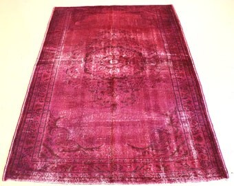 """Vintage Overdyed Turkish Rug, Handmade, Fuschia, 5 feet 6 inches by 8 feet 4 inches (5'6""""x8'4"""")"""