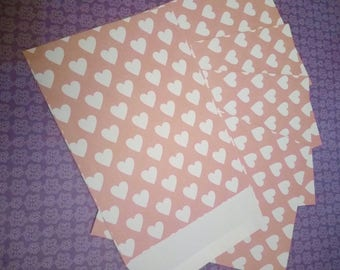 SET of 5 envelopes HEARTT pink 11.4 x 16.2 cm SCRAPBOOKING