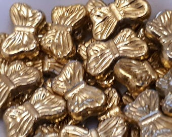 set of 10 beads Butterfly acrylic 15 x 8 mm gold