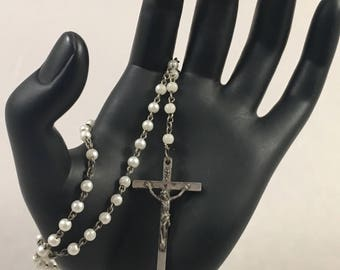 Vintage white bead Rosary