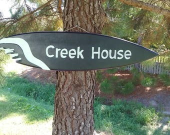 "Tiki Surfboard Sign Hand Made In The USA   ""Creek House""  39"""