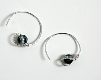 Hoop earrings - Pearl and aluminum
