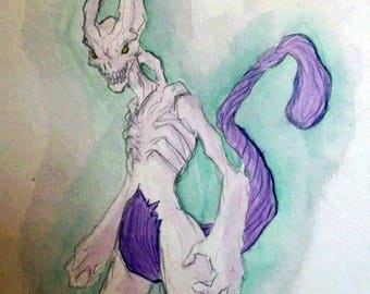 POKEMON original 24 x 32 - Mewtwo watercolor