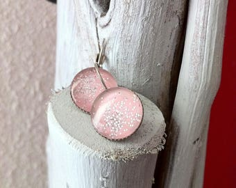 Earrings cabochon glass with glitter pink