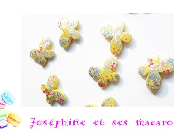 Yellow 1 Pearl acrylic Butterfly 29 x 22 mm
