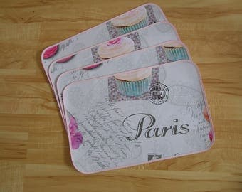 Set of 4 placemats made from oilcloth printed Paris, pink...