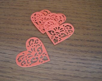 Set of 6 embellishments, tags, hearts, cut, lace