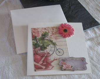 greeting card and envelope, shabby, bike, bicycle, 3D Daisy.