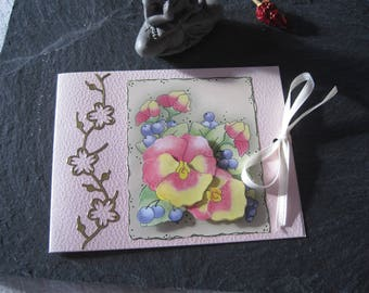 Double card, flowers, Ribbon, bow, 3D