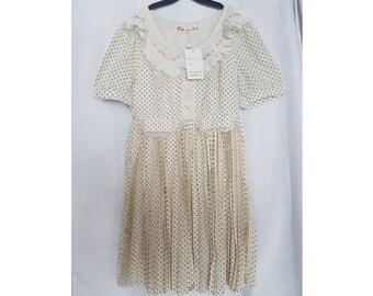 Womens Charmeuse Couture Vintage Inspired Tea dress polkadot