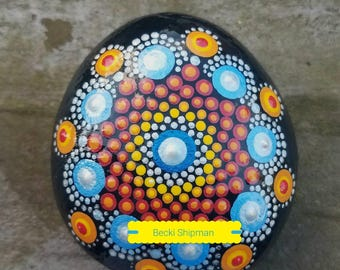 Handmade original acrylic painted rock mandala.  Unique gift for her, birthday, retirment, special collectible, or home and garden decor.