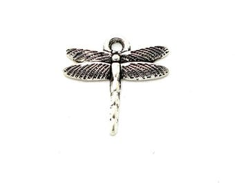Set of 5 silver metal Dragonfly charm
