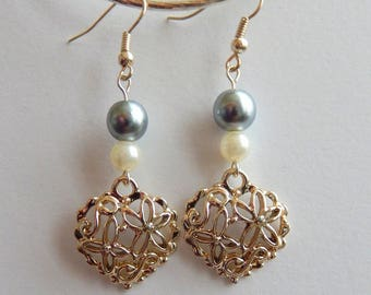 Silver hearts and beads earrings