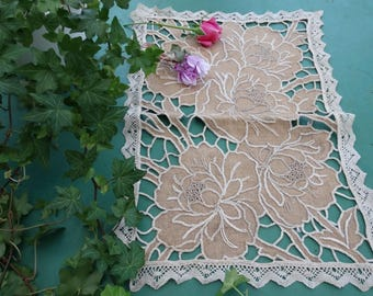 Antique french richelieu doily, hand embroidered doily, vintage embroidery and lace handmade 1920's doily table runner