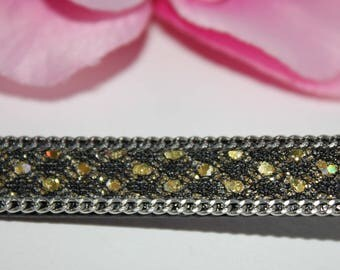Approximately 1 m cord leather artificial gold shiny - SC63381 - 10mm