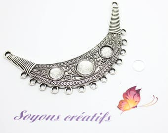 1 bib connector silver Moon + 3 Cabochons 8-10mm - SC04865 - design - jewelry