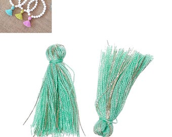 20 charms 25mm - Green turquoise - SC64862 - Polyester fringe tassels
