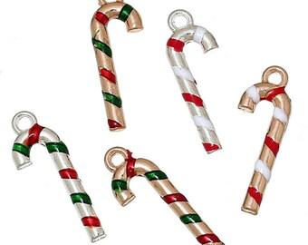 5 charms Charms enamel Christmas patterns barley sugar 27x9mm