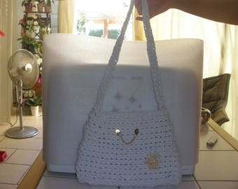 crochet hooked white bag