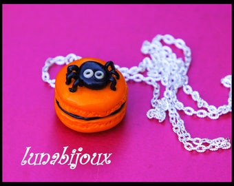 HALLOWEEN fimo macaroon spider jewelry necklace