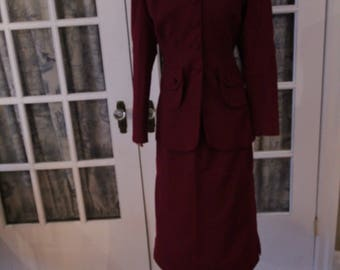 1940's Burgundy Women's Wedding Suit