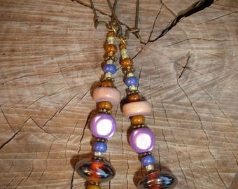 Earrings ethni'cook delicious nougat Marshmallow Lavender beads