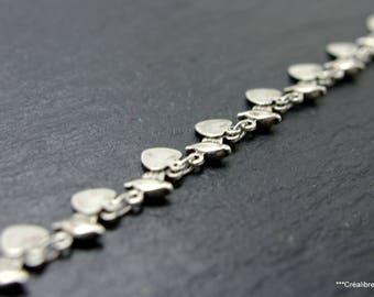 6.5 centimeters in 6 mm bird patterns silvered brass chain