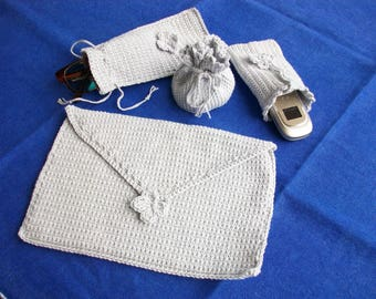 Set of pouches and cases for phone and glasses hand-made crochet in pure silver grey cotton