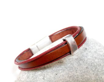 From camel leather silver bracelet