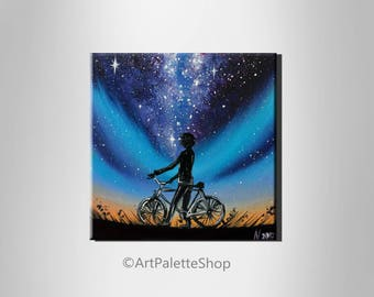 Small painting Bicycle wall art Bicycle painting Northern lights Bicycle art Galaxy painting Milky Way decor Space art Gift for him Boy