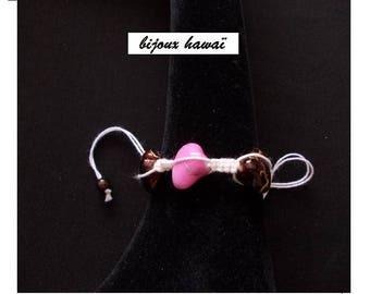 Cotton Brown & pink Shambala bracelet