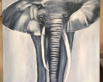 Original abstract Elephant in gray tone