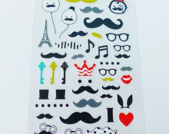 59 stickers mustache glasses eiffel tower key