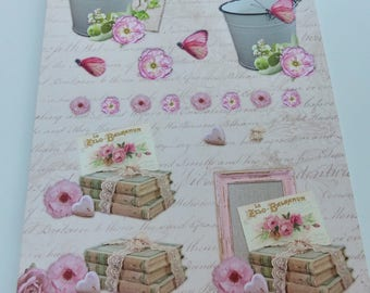 Board sheet A4 images precut to assemble for a 3D effect on the theme of nature romantic Butterfly heart flower seal
