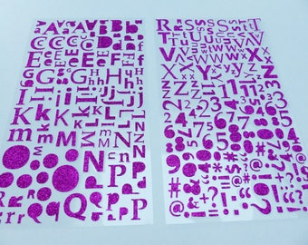 alphabet letter number computer symbol and punctuation 300 stickers hot pink glitter