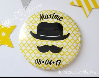 gentleman Yellow Hat melon and customize mustache magnet