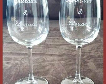 Wine glass personalized 35 cl - engraving of names for a wedding