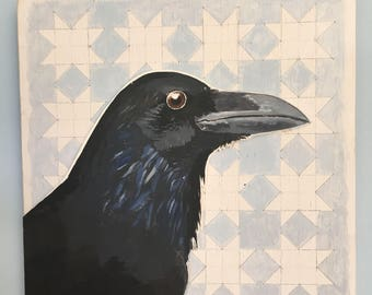 Hand painted raven on geometric backgroynd. Acrylic painted bird on blue and white pattern board. Painted and hand cut in relief. 20 x 20 cm