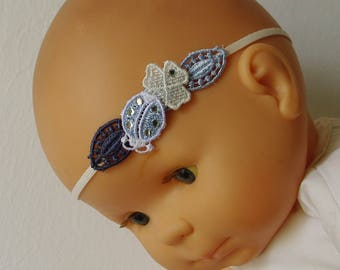 Lace headband, ladybug and clover blue and ivory