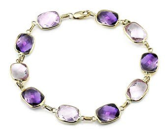 14K Yellow Gold Gemstone Bracelet With Cushion Cut Amethyst And Pink Quartz Link Stations