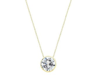 14k Yellow Gold Handmade Necklace With 6mm Round Cubic Zirconia Solitaire