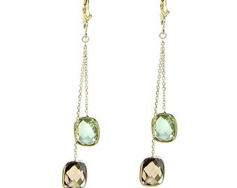 14k Yellow Gold Chandelier Gemstone Earrings with Cushion Cut Green And Smoky Quartz