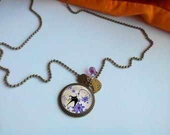 Long fashion - its 'black cat - purple' pendant necklace