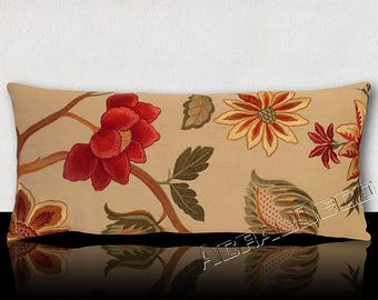Exotic flowers panoramic cushions embroidered watermelon/orange/green Emerald/Brown