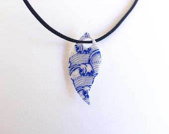 Glittery blue and white pattern Japanese patterns pendant necklace - polymer clay